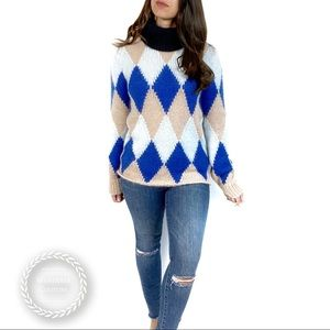 TORY BURCH Diamond Argyle Turtleneck Sweater